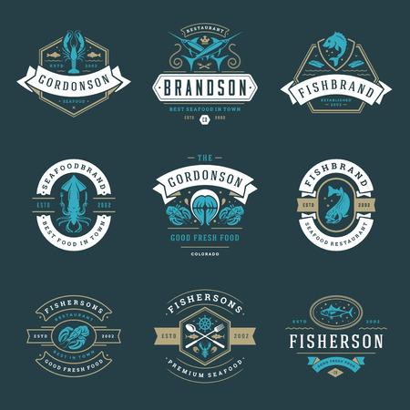 Seafood restaurant icon vector illustration. Market emblem, fish silhouette. Vintage typography badge design.