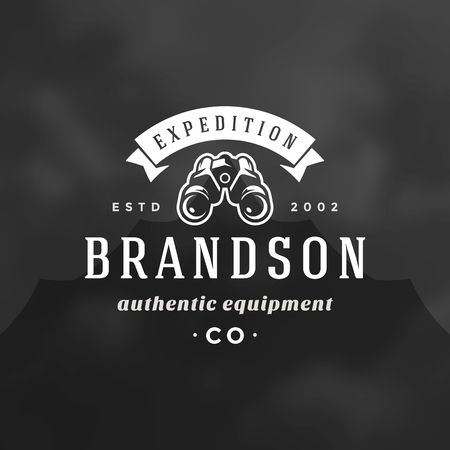 Expedition logo emblem vector illustration. Outdoor adventure leisure, binoculars silhouette shirt, print stamp. Vintage typography badge design. Illustration