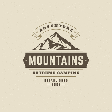 Mountains logo emblem vector illustration. Outdoor adventure expedition, mountains silhouette shirt, print stamp. Vintage typography badge design.