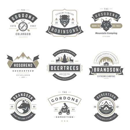 Camping icon templates vector design elements and silhouettes set, Outdoor adventure mountains and forest expeditions, vintage style emblems and badges retro illustration. Çizim