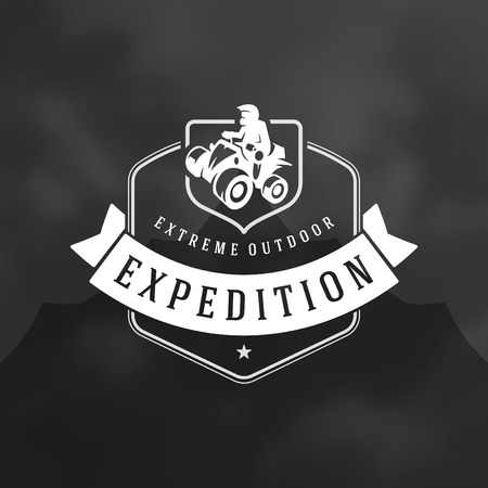 Atv logo emblem vector illustration. Off road mountains expedition, quad bike and man silhouette shirt, print stamp. Vintage typography badge design.