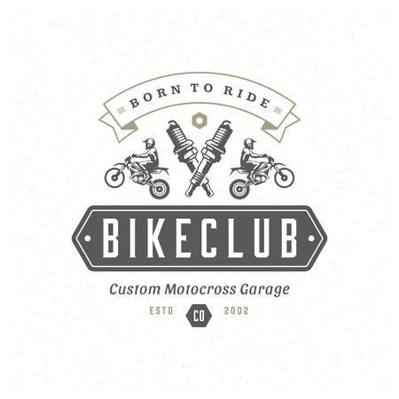 Motocross logo template vector design element vintage style for label or badge retro illustration. Motorcycle silhouette. Stock Illustratie