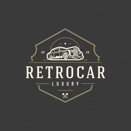 Classic car icon template vector design element vintage style for label or badge retro illustration. Иллюстрация