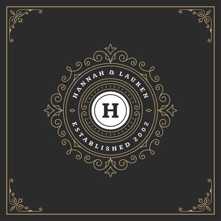 Ornament monogram logo design template vector flourishes calligraphic vintage frame. Good for Luxury Crest, boutique brand, wedding shop, hotel sign. Vectores