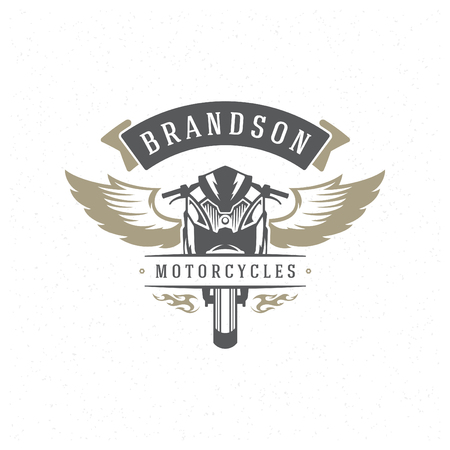 Sport motorcycle logo template vector design element vintage style for label or badge retro illustration. Motorcycle silhouette.