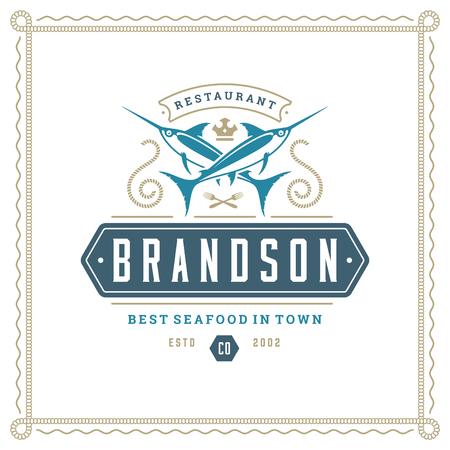 Seafood restaurant logo vector illustration. Market emblem, sword fish silhouette. Vintage typography badge design.