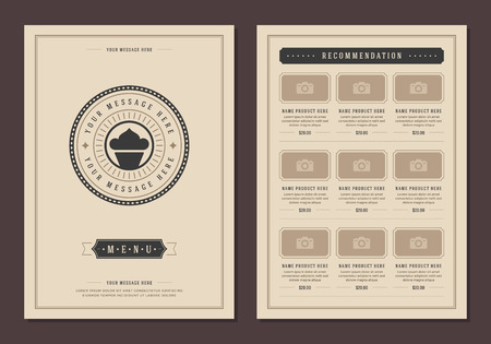 Restaurant icon and menu design vector brochure template. Bakery cupcake silhouette.