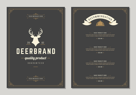 Restaurant icon and menu design vector brochure template. Deer silhouette. Reklamní fotografie - 95519549