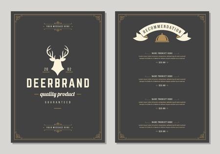 Restaurant icon and menu design vector brochure template. Deer silhouette. Illustration