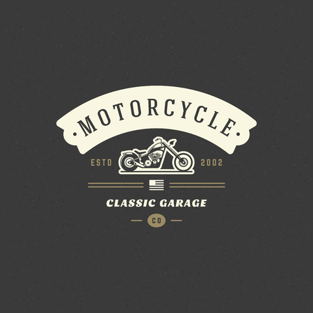 Motorcycle club template vector design element vintage style for label or badge retro illustration. Motorcycle silhouette. Illustration