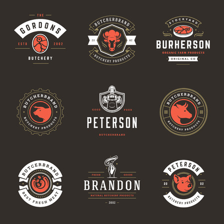 Butcher shop logos set vector illustration. Good for farm and restaurant badges, animals and meat silhouettes. Retro typography emblems design. Banque d'images