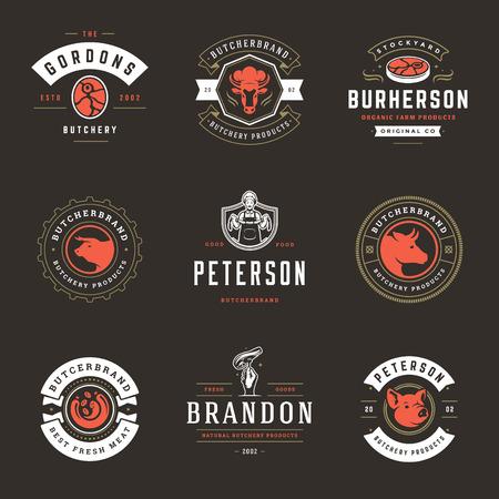 Slagerij logo's instellen vectorillustratie. Goed voor boerderij- en restaurantbadges, dieren en vleessilhouetten. Retro typografie emblemen ontwerp.