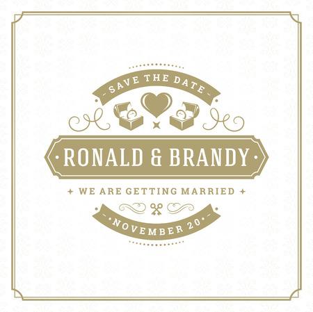 Wedding save the date invitation card vector illustration. Ilustração