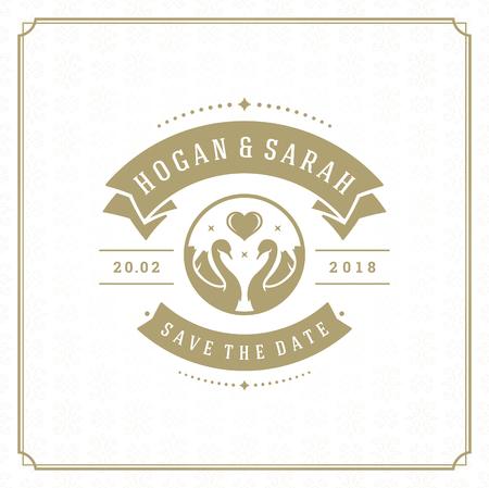 Wedding save the date invitation card vector illustration. Vettoriali
