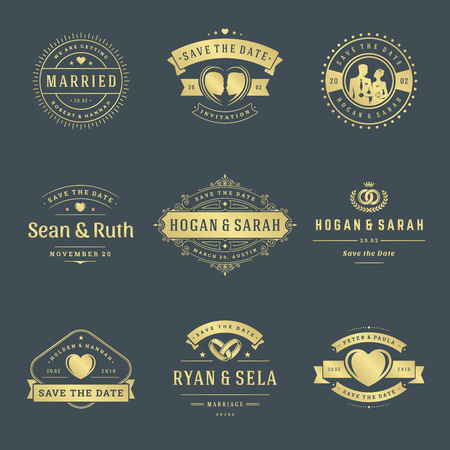 Set of Wedding badges vector and design elements set.
