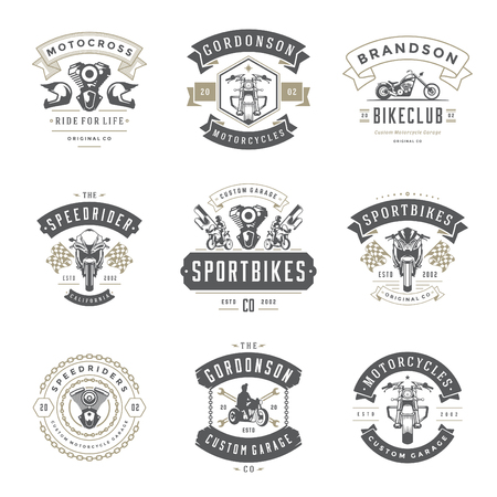 Motorcycles logos templates vector design elements set, vintage style emblems and badges retro illustration. Classic biker clubs, sport motorbike silhouettes.