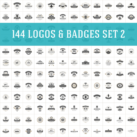 Vintage logos design templates set. Vector logotypes elements collection, icons symbols, retro labels, badges and silhouettes. Big Collection 144 Items. 向量圖像