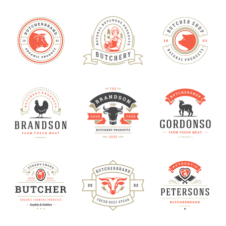 Butcher shop logos set vector illustration. Good for farm and restaurant badges, animals and meat silhouettes. Retro typography emblems design. Stock Illustratie