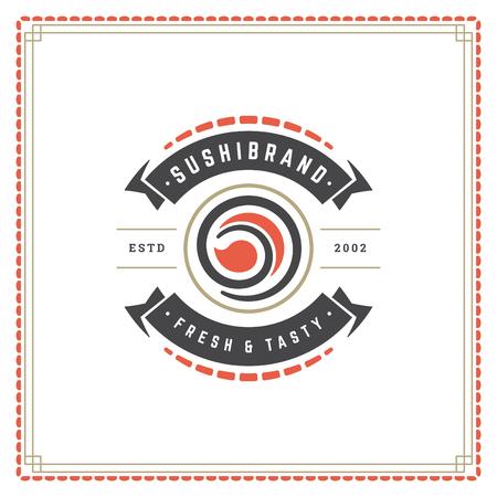 Sushi restaurant logo vector illustration. Japanese food, roll silhouette. Vintage typography badge design.