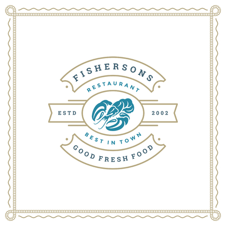 Seafood restaurant logo vector illustration. Market emblem, lobster silhouette. Vintage typography badge design. 向量圖像