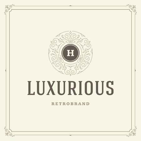 Ornament monogram logo design template vector flourishes calligraphic vintage frame. Good for Luxury Crest, boutique brand, wedding shop, hotel sign. Vettoriali