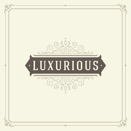 Ornament logo design template vector flourishes calligraphic vintage frame. Good for Luxury Crest, boutique brand, wedding shop, hotel sign. Vettoriali