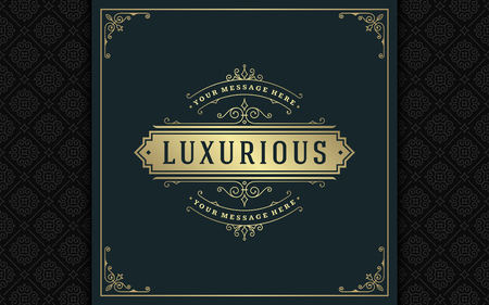 Luxury logo template vector golden vintage flourishes ornament. Stock Illustratie