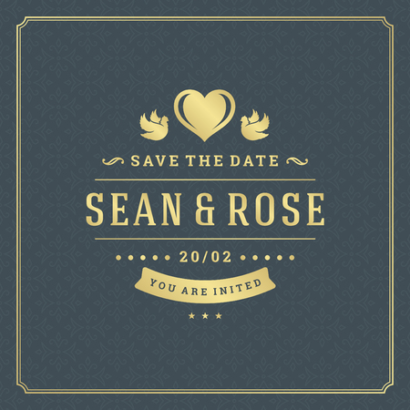 Wedding save the date invitation card vector illustration. Wedding invite title vintage design. Golden style and pattern background.