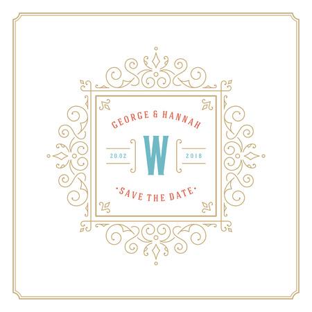 Wedding save the date invitation card vector illustration. Wedding invite title vintage design.