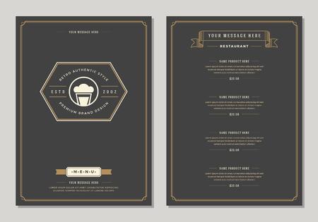 Restaurant logo and menu design vector brochure template. Beer cup silhouette.
