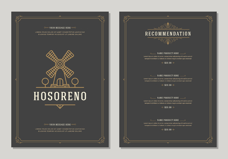 Restaurant logo and menu design vector brochure template. Mill silhouette.