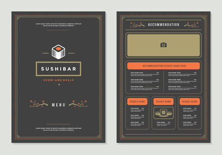 Sushi restaurant menu design and vector brochure template. Roll silhouette.  イラスト・ベクター素材
