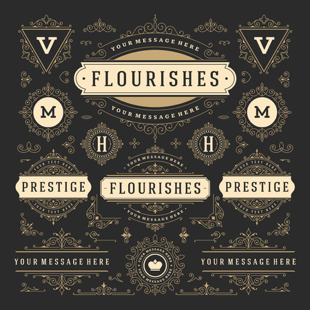 Vintage Vector Ornaments Decorations Design Elements. Flourishes calligraphic combinations design
