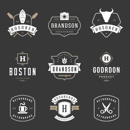 Vintage icon Design Templates Set. Illustration