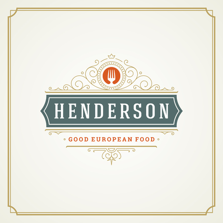 Restaurant logo template vector illustration.  イラスト・ベクター素材