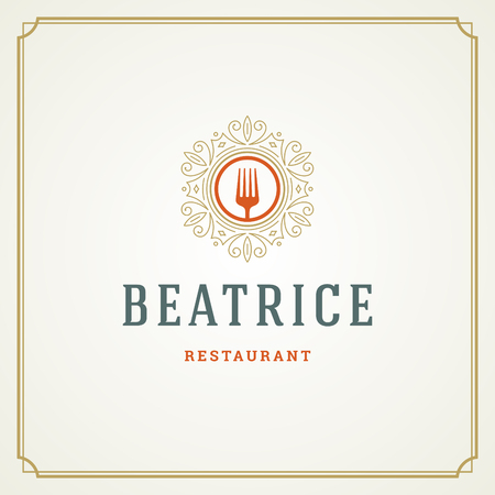 Restaurant logo template vector illustration. 矢量图像