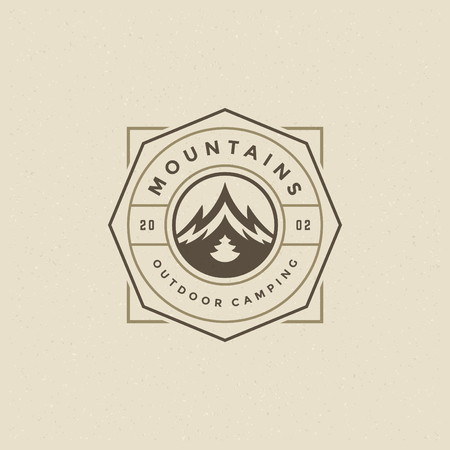 Mountains icon emblem vector illustration. Outdoor adventure expedition, mountains silhouette shirt, print stamp. Vintage typography badge design. Ilustrace