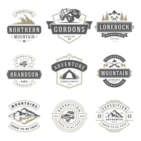 Camping icons templates vector design elements and silhouettes set. Outdoor adventure mountains and forest expeditions, vintage style emblems and badges retro illustration.