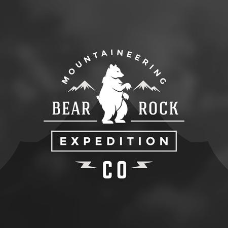 Forest camping logo emblem vector illustration. Outdoor adventure leisure, Bear silhouette shirt, print stamp. Vintage typography badge design.