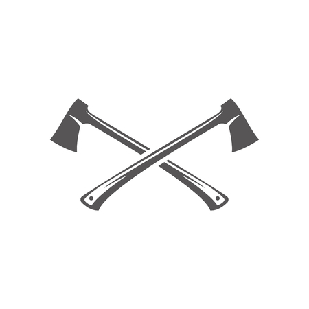 Axe silhouette isolated on white background vector illustration. Two crossed axe camping equipment vector graphic emblem.