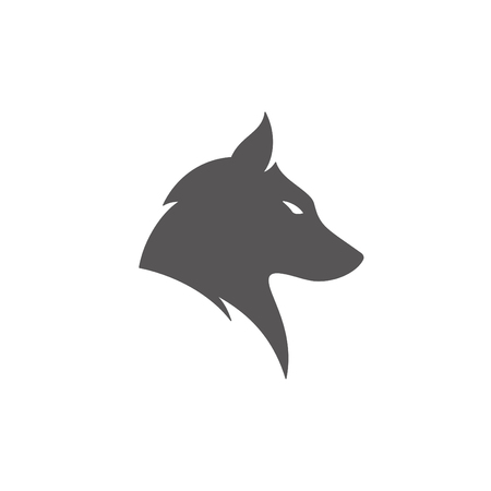Wolf silhouette isolated on white background vector illustration. Wolf head vector graphic emblem.  イラスト・ベクター素材