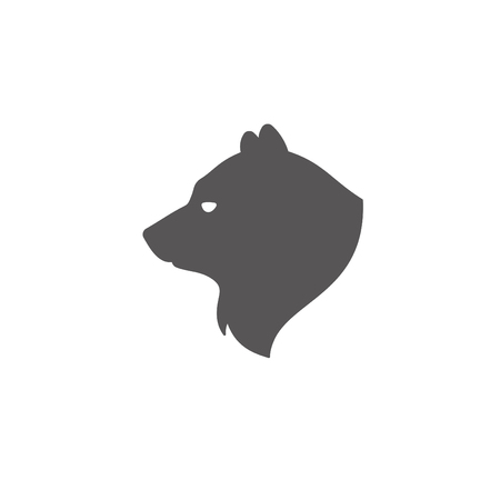 Bear silhouette isolated on white background vector illustration. Bear head vector graphic emblem.