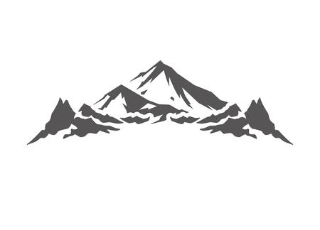 Kształt góry na białym tle na białe tło wektor ilustracja. Górskie wzgórza wektor graficzny sylwetka. Ilustracje wektorowe