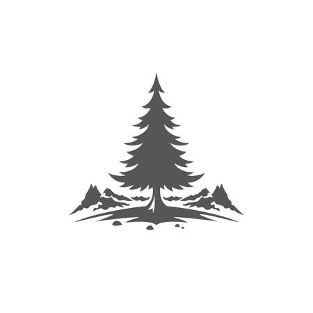 白い背景ベクトルのイラストで隔離された森林キャンプの形。松の木と山のベクトルグラフィックシルエット。