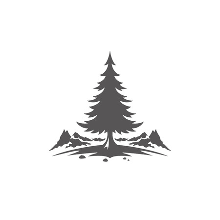 Forest camping shape isolated on white background vector illustration. Pine tree and mountains vector graphic silhouette.