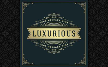 Luxury logo template vector golden vintage flourishes ornament. Illustration