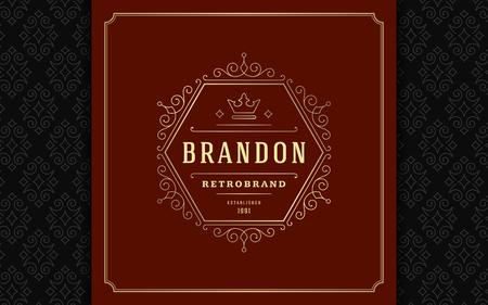 Luxury logo template vector golden vintage flourishes ornament. Vettoriali