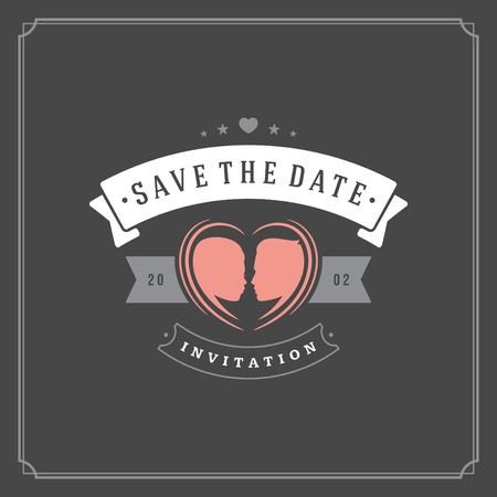 Wedding save the date invitation card vector illustration. Wedding invite title vintage design. Chalkboard style.