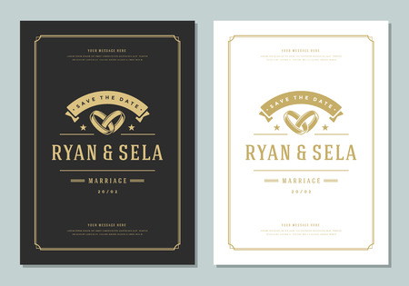 Wedding save the date invitation card vector illustration. Wedding invite title vintage design. Golden style.