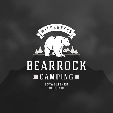 Bear logo emblem vector illustration. Outdoor adventure expedition, bear head and forest silhouettes shirt, print stamp. Vintage typography badge design.